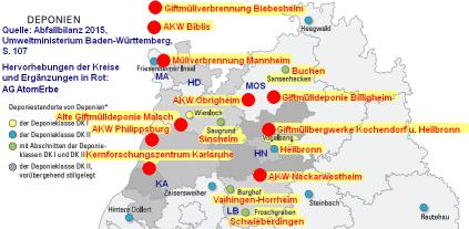Landkarte mit Deponien in der Umgebung von Neckarwestheim, Obrigheim und Philippsburg